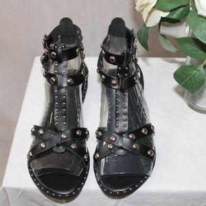 Fashion Nova Black Studded Flat Sandal New